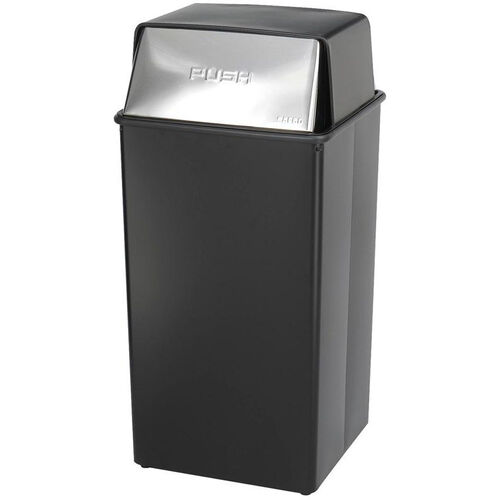 Our Reflections® 36 Gallon Push Top Steel Construction Receptacle with Corner Hooks - Black is on sale now.