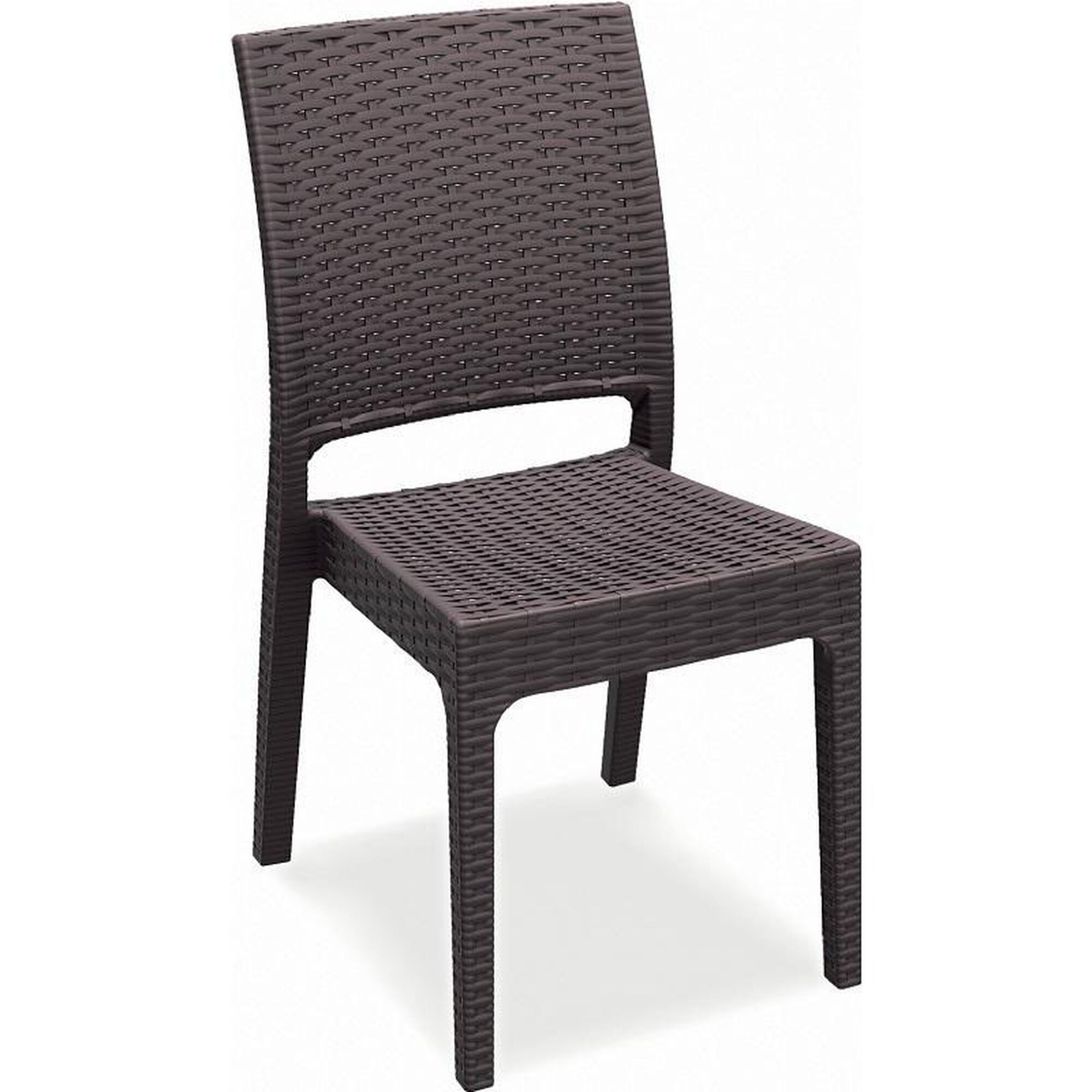 Awesome Florida Outdoor Wickerlook Resin Stackable Dining Chair Brown Ncnpc Chair Design For Home Ncnpcorg