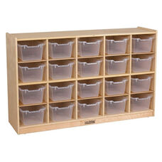 Birch 20 Cubby Tray Cabinet with 20 Clear Bins - 48