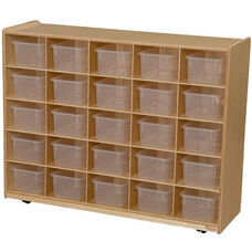 Wooden Storage Unit with 25 Clear Plastic Trays - 48