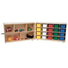 20 Tray and Shelf Folding Storage Unit with Twenty Multi-Colored Storage Trays - 48-96