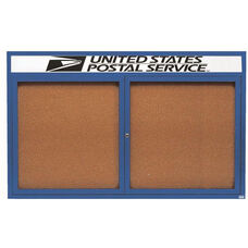 2 Door Indoor Illuminated Enclosed Bulletin Board with Header and Blue Powder Coated Aluminum Frame - 48