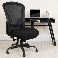 HERCULES Series 24/7 Intensive Use Big & Tall 400 lb. Rated Black Mesh Multifunction Synchro-Tilt Ergonomic Office Chair