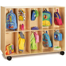 Double Sided 20 Section Mobile Backpack Cubbie with 20 Double Coat Hooks - 60