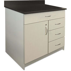 Alera Plus™ Hospitality Base Gray Laminate Cabinet with Four Drawers and Single Door - 36