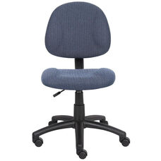 Deluxe Thick Padded Armless Task Chair with Lumbar Support and Nylon Base - Blue