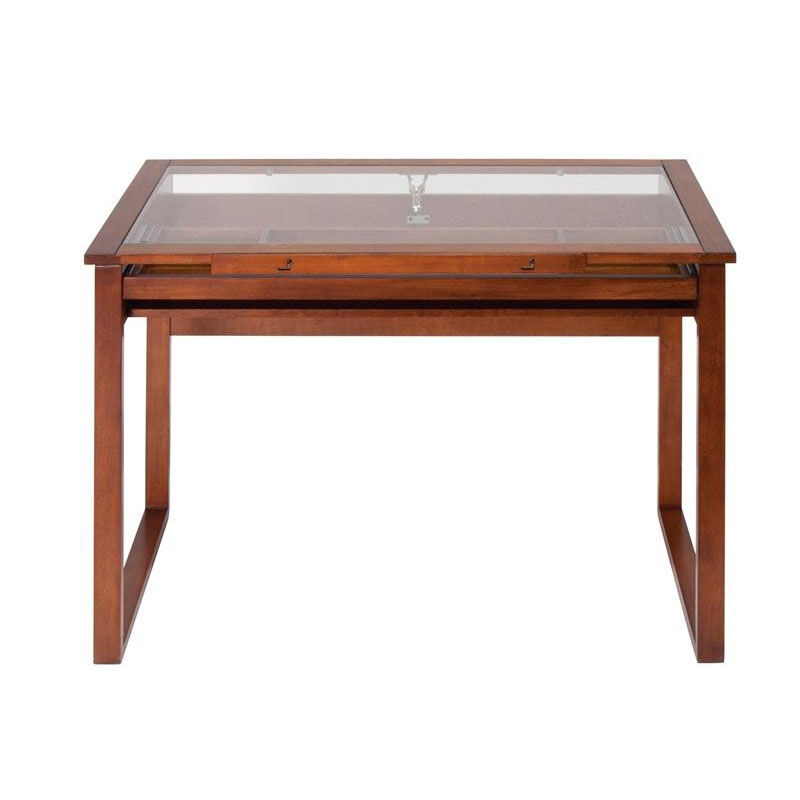 ... Our Ponderosa Clear Tempered Glass And Solid Wood Drafting Table With  Storage Drawer   Sonoma Brown ...