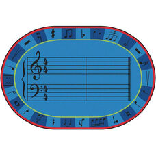 Kids Value A-Sharp Music Oval Nylon Rug - 96