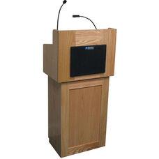 Oxford Wired 50 Watt Sound Two Piece Lectern - Oak Finish - 22