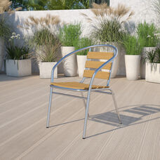 Commercial Aluminum Indoor-Outdoor Restaurant Stack Chair with Triple Slat Faux Teak Back