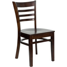 Walnut Finished Ladder Back Wooden Restaurant Chair