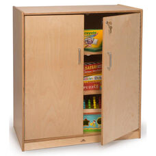 Lockable Supply Cabinet with 3 Storage Shelves in Birch Plywood