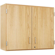 Science Lab Wooden Wall Cabinet with 2 Adjustable Shelves and Locking Doors - 36