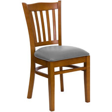 Cherry Finished Vertical Slat Back Wooden Restaurant Chair with Custom Upholstered Seat