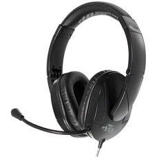 Black Over-Ear Leatherette Ear Cushion Trios Multimedia Headset with Gooseneck Mic and Multi-Use Headphone Plugs