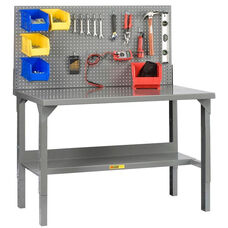 Adjustable Height Welded Workbench with Pegboard