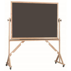 Reversible Free Standing Slate Porcelain Chalkboard with Red Oak Frame