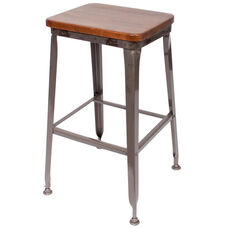 Lincoln Metal Clear Coat Backless Barstool - Ash Wood Seat