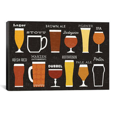 Craft Beer List by Michael Mullan Gallery Wrapped Canvas Artwork