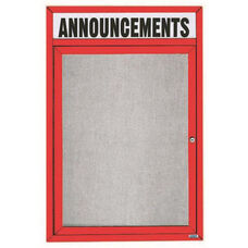 1 Door Outdoor Illuminated Enclosed Bulletin Board with Header and Red Powder Coated Aluminum Frame - 48
