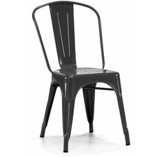 Dreux Stackable Glossy Black Steel Side Chair - Set of 4