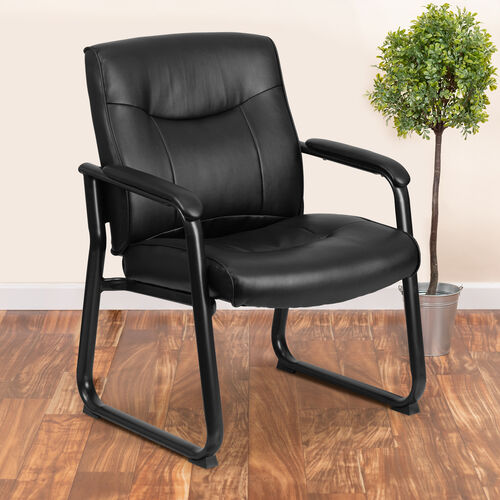 Our HERCULES Series Big & Tall 500 lb. Rated Black LeatherSoft Executive Side Reception Chair with Sled Base is on sale now.