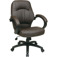 Work Smart Deluxe Faux Leather Managers Chair with Padded Arms - Chocolate