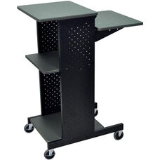 Steel Frame Mobile Presentation Station with 4 Laminate Shelves - Gray - 18