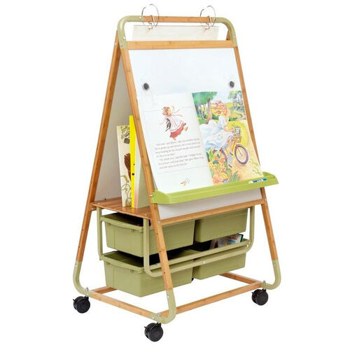 Our Double Sided Bamboo Teaching Easel with Bamboo Middle Shelf and 4 Open Tubs is on sale now.
