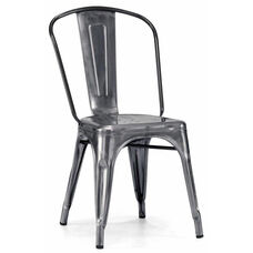 Dreux Steel Stackable Dark Gunmetal Side Chair - Set of 4
