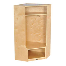 Birch Hardwood Corner Section 4 Hook Coat Locker with Bench and 2 Cubbies