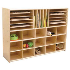 Contender Multi-Storage Unit with 15 Lime Green Plastic Trays - Unassembled - 46.75