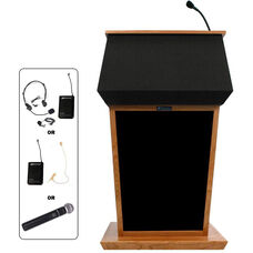 Patriot Wireless 50 Watt Sound and Hand Held Mic Lectern - Cherry Finish - 31
