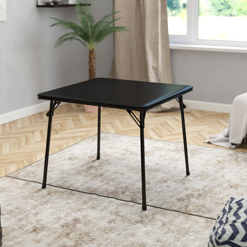 Black Folding Card Table - Lightweight Portable Folding Table with Collapsible Legs