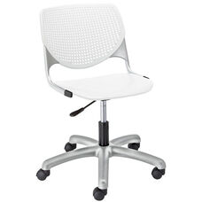 TK2300 KOOL Series Poly Armless Task Chair with Perforated Back and Silver Frame - White