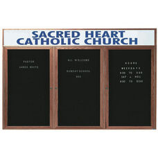 3 Door Enclosed Changeable Letter Board with Header and Walnut Finish - 36