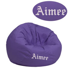 Personalized Small Solid Purple Kids Bean Bag Chair