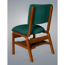 Stained Red Oak Narrow Width Upholstered Stacking Chair