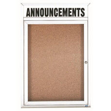 1 Door Indoor Enclosed Bulletin Board with Header and White Powder Coated Aluminum Frame - 36