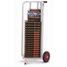 V-Shaped Steel Frame Book Cart with Rubber Wheels - 44