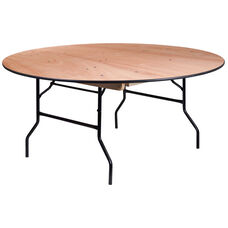 5.5-Foot Round Wood Folding Banquet Table with Clear Coated Finished Top