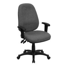High Back Gray Fabric Executive Swivel Ergonomic Office Chair with Adjustable Arms