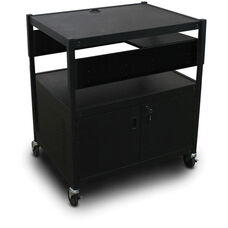 Spartan Series Adjustable Media Projector Cart and Cabinet with One Pull-Out Side-Shelf - Black