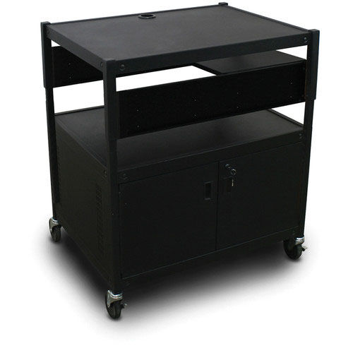 Our Spartan Series Adjustable Media Projector Cart and Cabinet with One Pull-Out Side-Shelf - Black is on sale now.