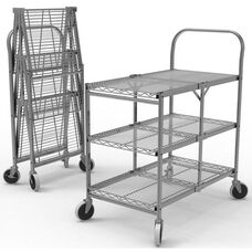 Three Shelf Collapsible Wire Transport Cart - 33.75
