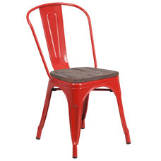 Red Metal Stackable Chair with Wood Seat