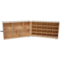 Wooden Double Folding Mobile Storage Unit with 20 Purple Plastic Trays - 96