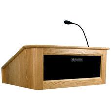 Solid Hardwood Victoria Wired 150 Watt Sound Tabletop Lectern - Oak Finish - 27
