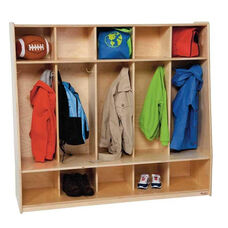 Tip-Me-Not 5-Section Seat Lockers with Two Coat Hooks in Each Section - Assembled - 54