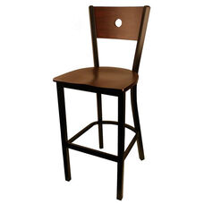 Moon Back Barstool with Metal Frame and Veneer Seat and Back in Mahogany Finish